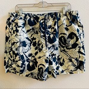 POLO SPORT Vtg floral swim trunks navy shorts L